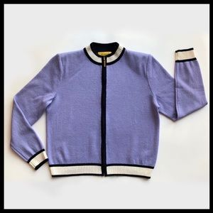 ST. JOHN Knit Jacket Lavender Navy M